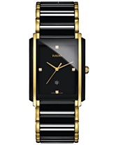 a63ca9714 Rado Men's Swiss Integral Diamond Accent Black Ceramic & Gold-Tone  Stainless Steel Bracelet Watch