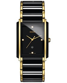 Rado Men's Swiss Integral Diamond Accent Black Ceramic & Gold-Tone Stainless Steel Bracelet Watch 31x41mm R20204712