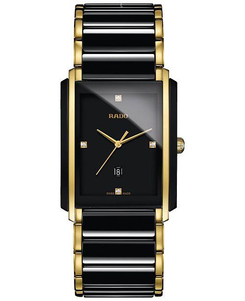 da5229d568 ... Rado Men's Swiss Integral Diamond Accent Black Ceramic & Gold-Tone Stainless  Steel Bracelet Watch ...