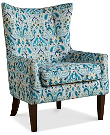Brie Printed Fabric Accent Chair, Quick Ship
