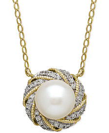 Cultured Freshwater Pearl (7mm) & Diamond Accent Pendant Necklace in 14k Gold