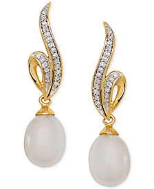 Honora Style Cultured Freshwater Pearl (7mm) & Diamond (1/10 ct. t.w.) Drop Earrings in 14k Gold
