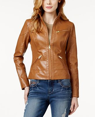 GUESS Faux-Leather Bomber Jacket - Coats - Women - Macy's
