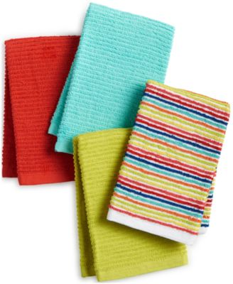 Ribbed & Striped Kitchen Towel Collection 4-Pc. Bar Mop Set