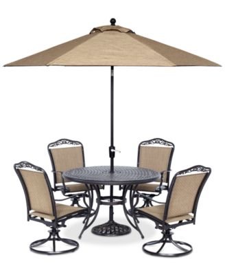 """Beachmont II Outdoor 5-Pc. Dining Set (48"""" Round Table and 4 Swivel Rockers), Created for Macy's"""