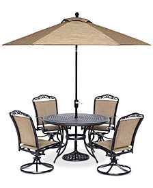 "Beachmont II Outdoor 5-Pc. Dining Set (48"" Round Table and 4 Swivel Rockers), Created for Macy's"