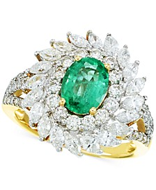 Emerald (9/10 ct. t.w.) and Diamond (1-5/8 ct. t.w.) Ring in 14k Gold