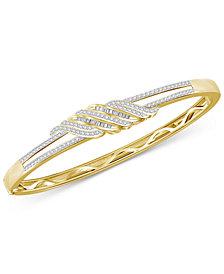 Diamond Twist Bangle Bracelet (1 ct. t.w.) in Sterling Silver & 14K Gold Plated Sterling Silver