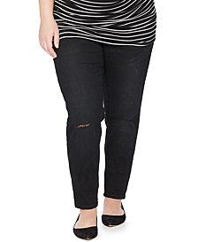 Motherhood Maternity Plus Size Distressed Maternity Skinny Jeans, Black Wash