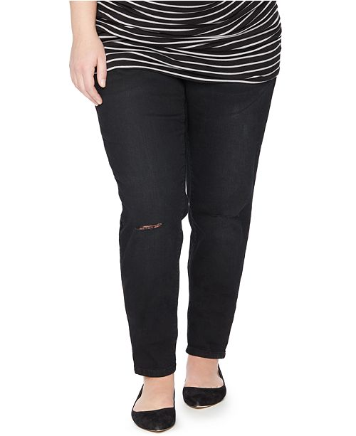 3c48cfd6a6a62 ... Motherhood Maternity Plus Size Distressed Maternity Skinny Jeans, Black  Wash ...
