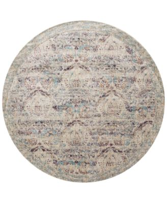 "Andreas   AF-05 Silver/Plum 5'3"" Round Rug"