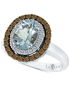 Chocolatier® Aquamarine (1-3/8 ct. t.w.) and Diamond (1/2 ct. t.w.) Ring in 14k White Gold
