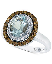 Le Vian Chocolatier® Aquamarine (1-3/8 ct. t.w.) and Diamond (1/2 ct. t.w.) Ring in 14k White Gold