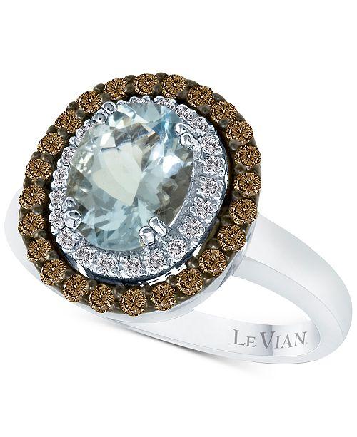 Le Vian  Chocolatier® Aquamarine (1-3/8 ct. t.w.) and Diamond (1/2 ct. t.w.) Ring in 14k White Gold