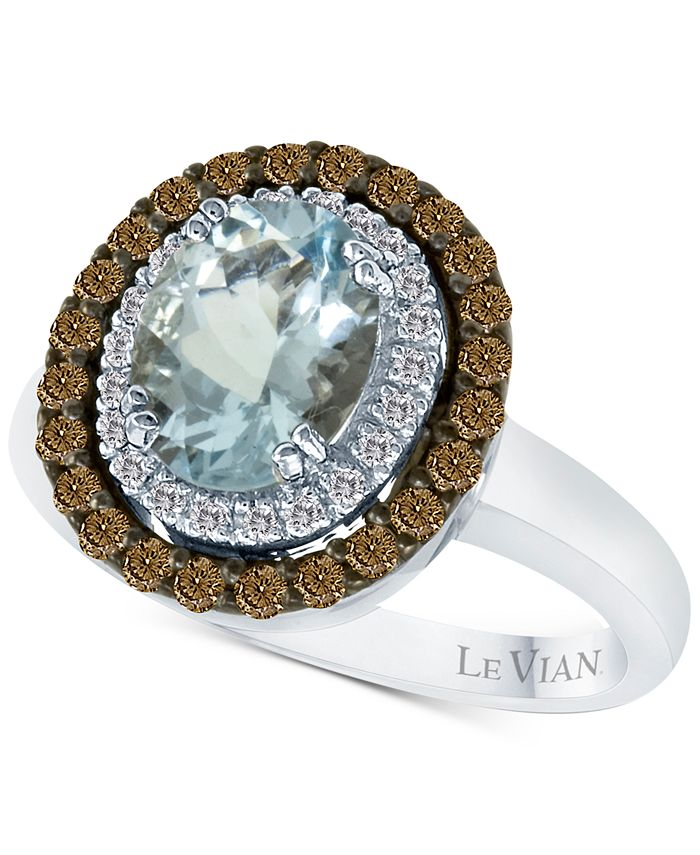 Le Vian - Aquamarine (1-3/8 ct. t.w.) and Diamond (1/2 ct. t.w.) Ring in 14k White Gold