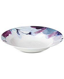 Indigo Watercolor Floral Rim Soup Bowl, Created for Macy's