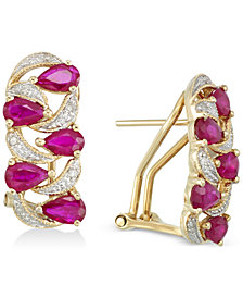 RARE Featuring GEMFIELDS Certified Ruby (2 ct. t.w.) and Diamond (1/8 ct. t.w.) Earrings