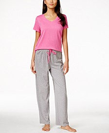 Basics V-Neck Solid Pajama Top & Matching Pants Collection