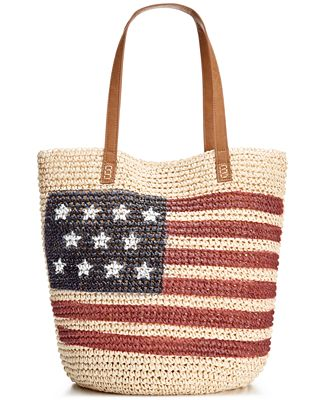 Style & Co. Flag Straw Beach Bag, Only at Macy's - Handbags ...