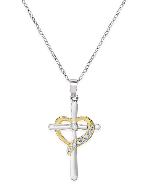 Macy's Diamond Cross Heart Pendant Necklace (1/10 ct. t.w.) in Sterling Silver and 18K Gold-Plated Sterling Silver
