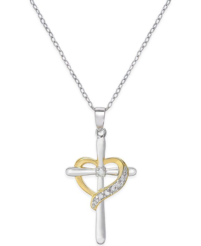 Macy's - Diamond Cross Heart Pendant Necklace (1/10 ct. t.w.) in Sterling Silver and 18K Gold-Plated Sterling Silver
