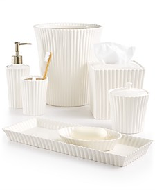 martha stewart collection ceramic scallop bath accessories created for macys - White Bathroom Accessories Ceramic