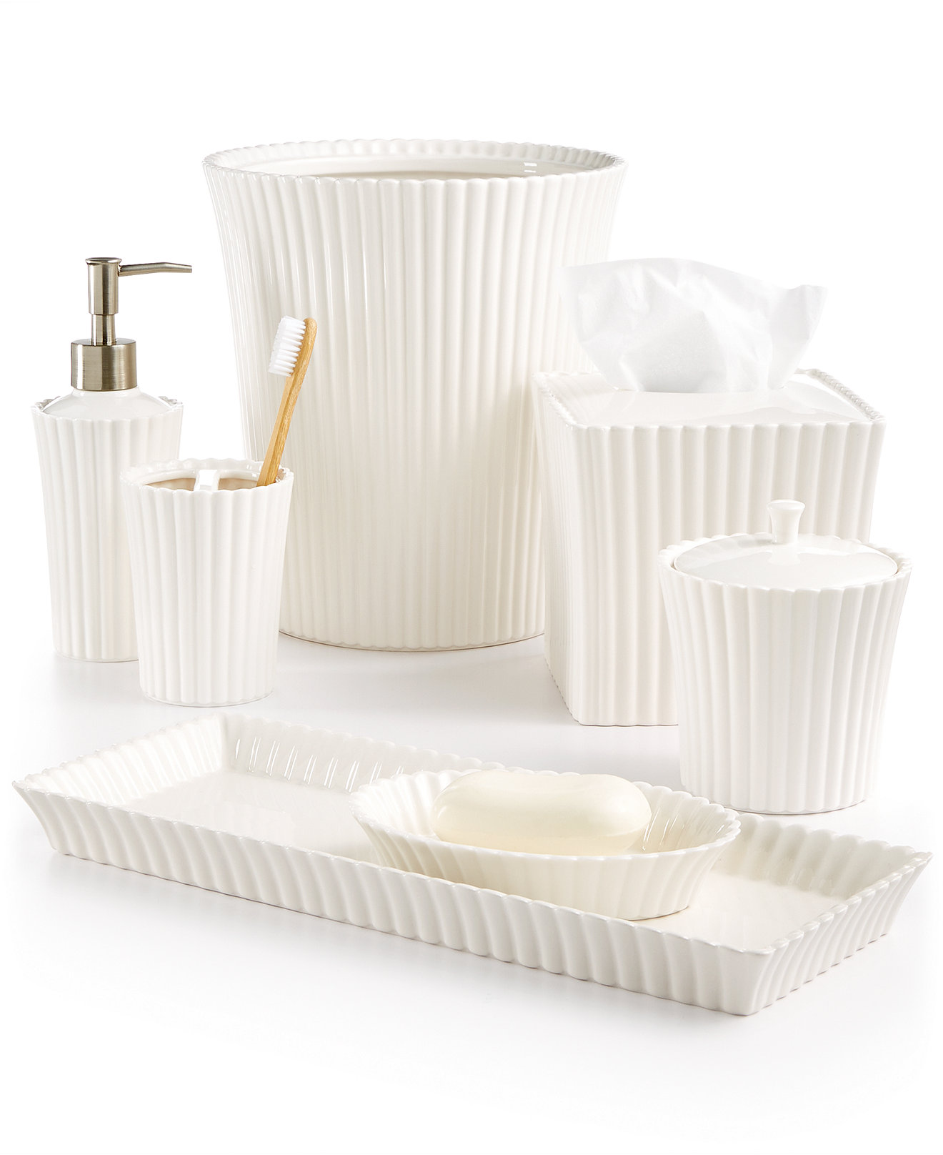 Mercury glass bathroom accessories - Martha Stewart Collection Ceramic Scallop Bath Accessories Created For Macy S
