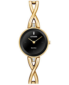 Citizen Women's Eco-Drive Gold-Tone Stainless Steel Bangle Bracelet Watch 23mm EX1422-54E