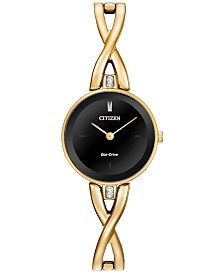 Citizen Women's Eco-Drive Gold-Tone Stainless Steel Bangle Bracelet Watch 23mm EX1422-54E