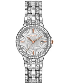 Women's Eco-Drive Crystal Accent Stainless Steel Bracelet Watch 28mm EW2340-58A