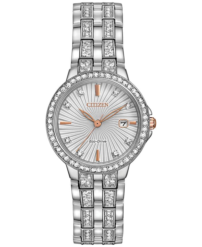 Citizen - Women's Eco-Drive Crystal Accent Stainless Steel Bracelet Watch 28mm EW2340-58A