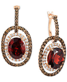 Le Vian Chocolatier® Raspberry Rhodolite® Garnet (6 ct. t.w.) and Diamond (1-1/3 ct. t.w.) Earrings in 14k Rose Gold, Created for Macy's