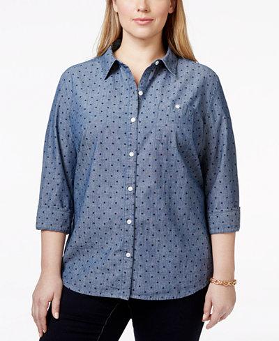 Karen Scott Plus Size Printed Button Down Chambray Shirt