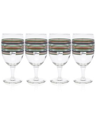 Slate & Sage Stripe Set of 4 Goblets