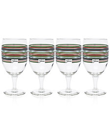 Fiesta Slate & Sage Stripe Set of 4 Goblets