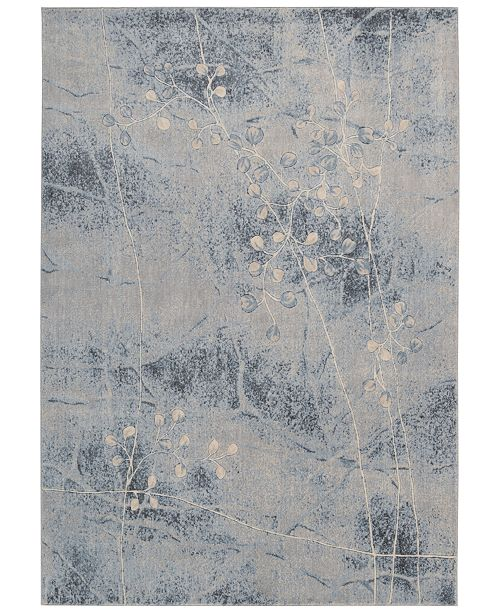 """Nourison CLOSEOUT! Somerset Silver/Blue Blossom 2' x 2'9"""" Area Rug"""
