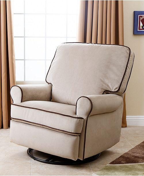 Abbyson Living Narda Fabric Nursery Swivel Glider Recliner Quick Ship Furniture Macy S