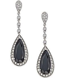 Onyx (7×16mm) and Swarovski Zirconia Drop Earrings in Sterling Silver