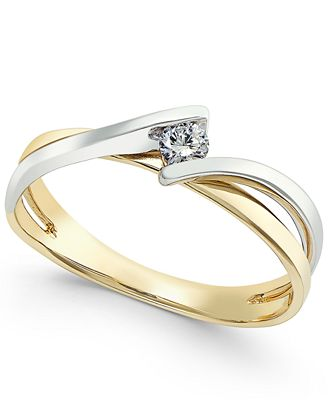 two tone twist promise ring 1 10 ct t w in 10k