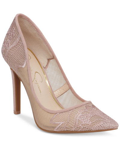 Jessica Simpson Camba Lace Pointed-Toe Pumps