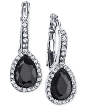Vintage Style Jewelry, Retro Jewelry 2028 Silver-Tone Jet Black Stone and Crystal Drop Earrings $24.00 AT vintagedancer.com