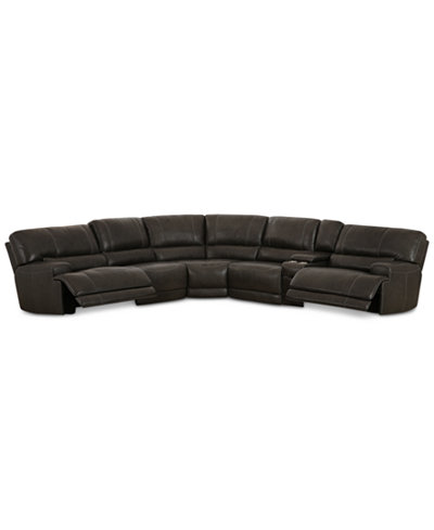 Warrin 6-pc Leather Sectional Sofa & Console with 2 Power Recliners