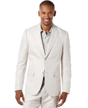 Men's Vintage Style Suits, Classic Suits Perry Ellis Mens Linen Suit Jacket $130.99 AT vintagedancer.com