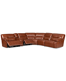 CLOSEOUT! Beckett 6-pc Leather Sectional Sofa with Console and 2 Power Recliners, Created for Macy's