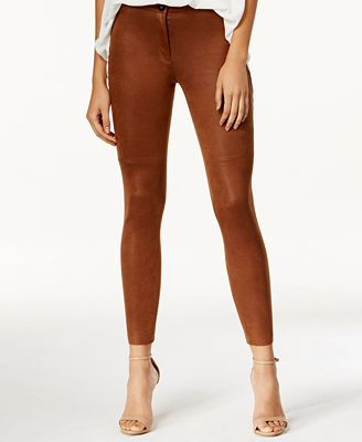Bar III Coated Faux-Suede Ankle Leggings, Created for Macy's