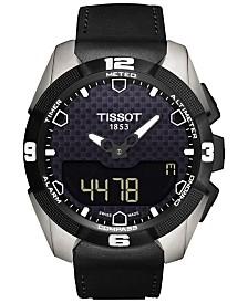 Tissot Men's Swiss Solar Analog-Digital T-Touch Expert Black Leather Strap Watch 45mm T0914204605100