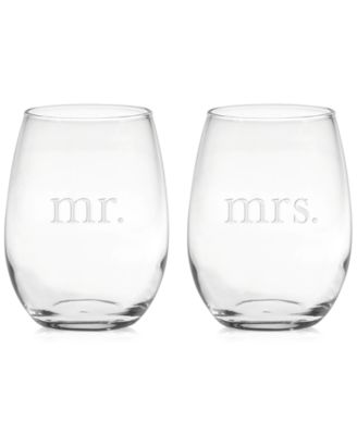 Mr. & Mrs. Stemless Wine Glasses, Set of 2