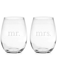 Mr. & Mrs. Stemless Wine Glasses, Set of 2