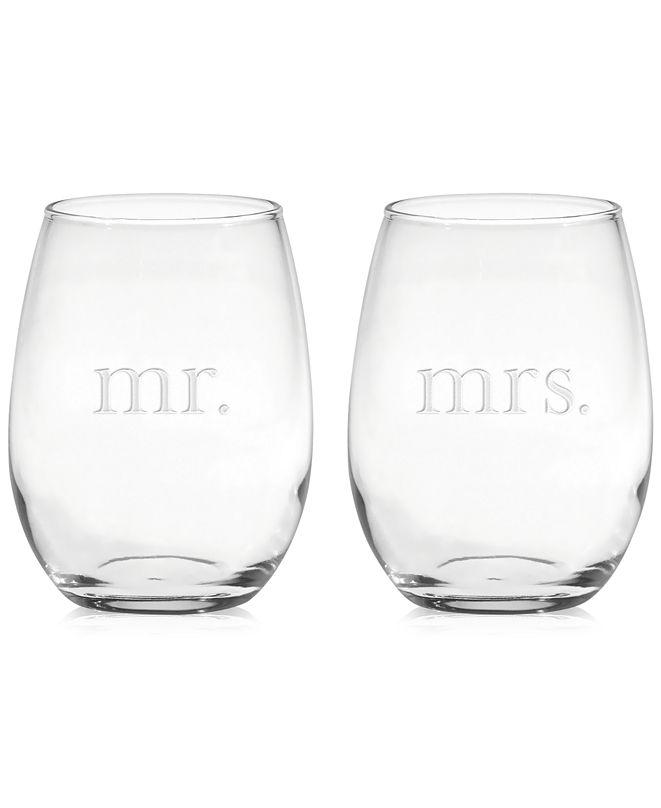 Culver Mr. & Mrs. Stemless Wine Glasses, Set of 2