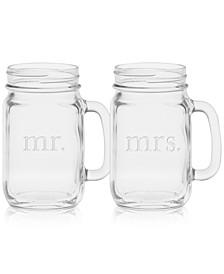 Mr. & Mrs. Mason Jar Glasses, Set of 2